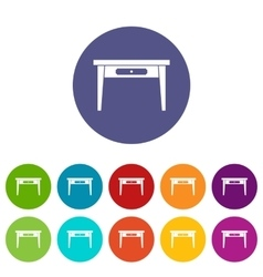 Wooden table set icons vector