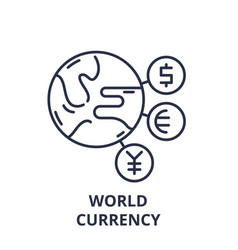world currency line icon concept world currency vector image