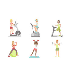 young women doing fitness exercises in gym set vector image