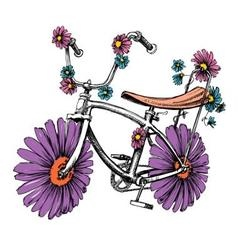 Bike with flowers cute design element for vector image vector image