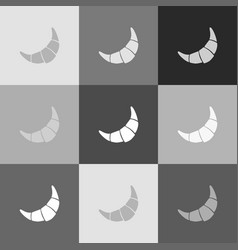 croissant simple sign grayscale version vector image