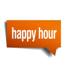 happy hour orange speech bubble isolated on white vector image vector image