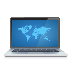 Laptop with World map on screen vector image vector image