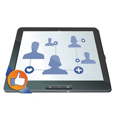 social network on the screen of mobile computer - vector image vector image