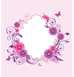 background with pink and violet flowers vector image vector image