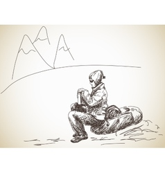backpacker at rest vector image