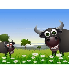 buffalo cartoon with nature background vector image