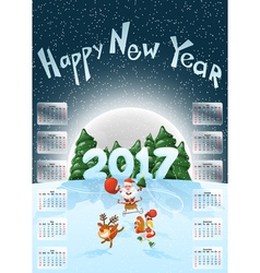 Calendar 2017 Happy New Year Merry Christmas Year vector image