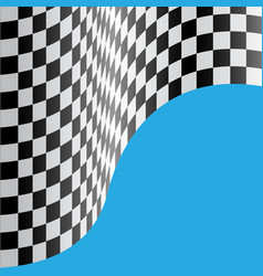 checkered flag wave blue design race sport vector image