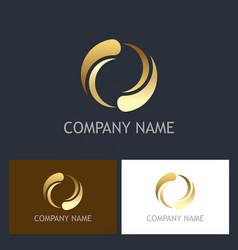 circle round gold technology logo vector image vector image