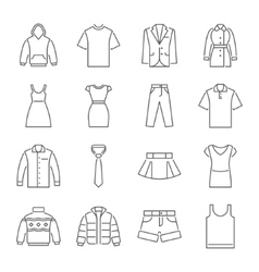 Clothes icons thin line style flat design vector image