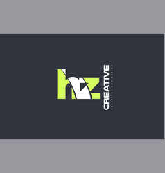 green letter hz h z combination logo icon company vector image vector image