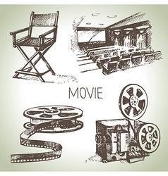 Hand drawn vintage movie and cinema set vector