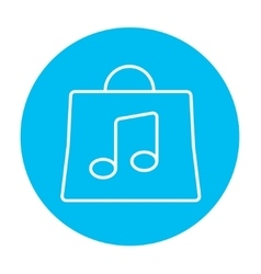 Bag with music note line icon vector image vector image