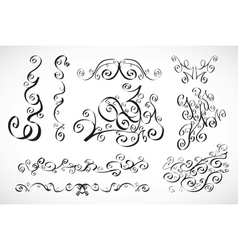 calligraphic design elements smooth floral lines vector image vector image