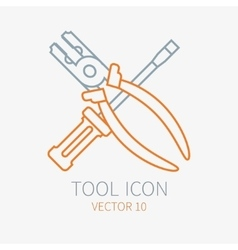 Line working color screwdriver with pliers vector