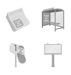 newspapers a bus stop a mail box a billboard vector image