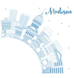 Outline Madison Skyline with Blue Buildings vector image