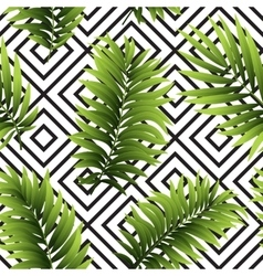 Tropical palm leaves seamless geometric vector image vector image