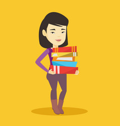 woman holding pile of books vector image