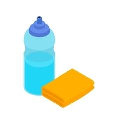 Yellow sponge and bottle icon isometric 3d style vector image vector image