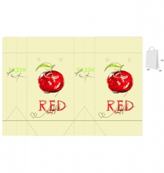 bag with red apple vector image vector image