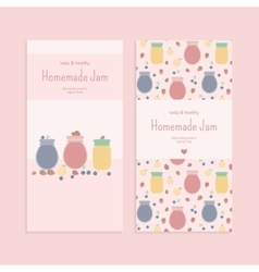 Set of flyer templates with fruit jam vector image