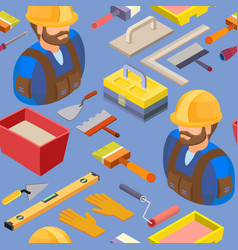 Workers and tools seamless pattern vector