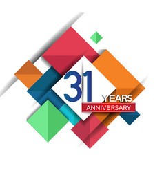 31 years anniversary design colorful square style vector