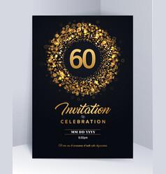 60 years anniversary invitation card template vector