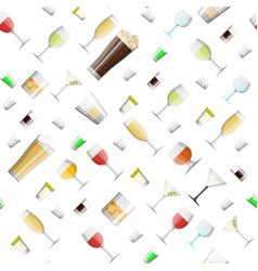 alcohol drinks in glasses seamless pattern vector image