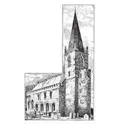 All saints church brixworth vintage engraving vector