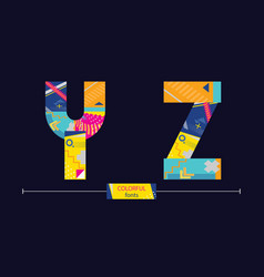 Alphabet colorful geometric style in a set yz vector
