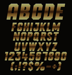 alphabet signs pixels with gold gradient vector image