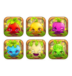 app icons wth cute cartoon plant monsters vector image