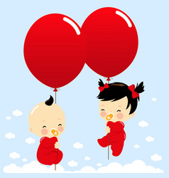 Asian twin babies holding balloons vector