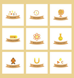 assembly flat icons rocket geography physics vector image