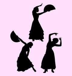 Attractive woman dancing flamenco vector