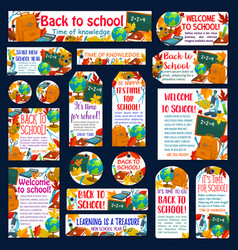 Back to school autumn study posters banners vector