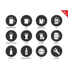 Beer and beverage icons on white background vector
