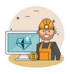 bitcoin mining cartoons vector image
