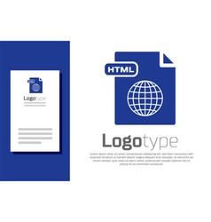 Blue html file document download html button icon vector