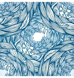 Blue ornate doodle foliage circle seamless pattern vector