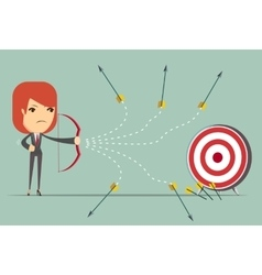 business woman can not hit the target vector image