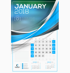 calendar template for 2018 year january design vector image