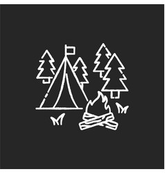 Camping chalk white icon on black background vector