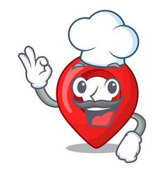 chef navigation pin location map character cartoon vector image