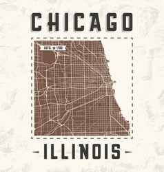 Chicago city streets t shirt design with city map vector