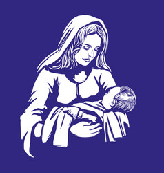 christmas story mary and baby jesus son of god vector image