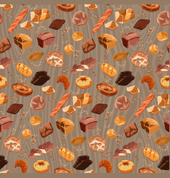 Colorful fresh bread seamless pattern vector